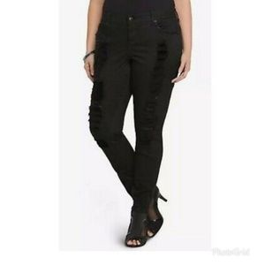 Torrid Black Distressed Embellished Skinny Jeans